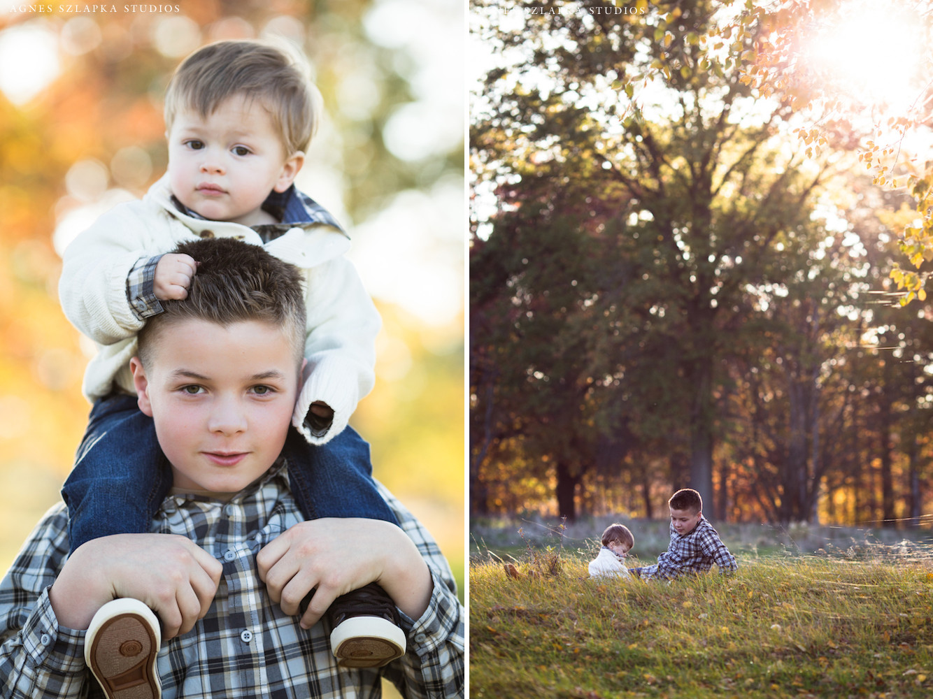 big brother with little brother piggy back | cleveland, ohio lifestyle photographer