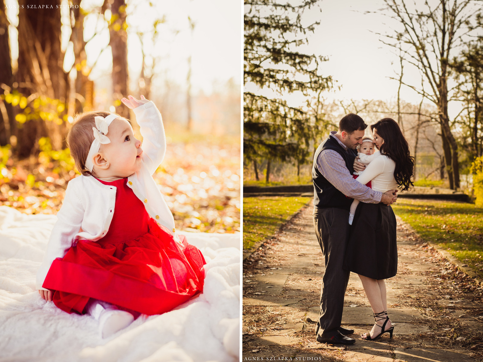 nine month old baby girl in pretty dress waving | cleveland, ohio family photos