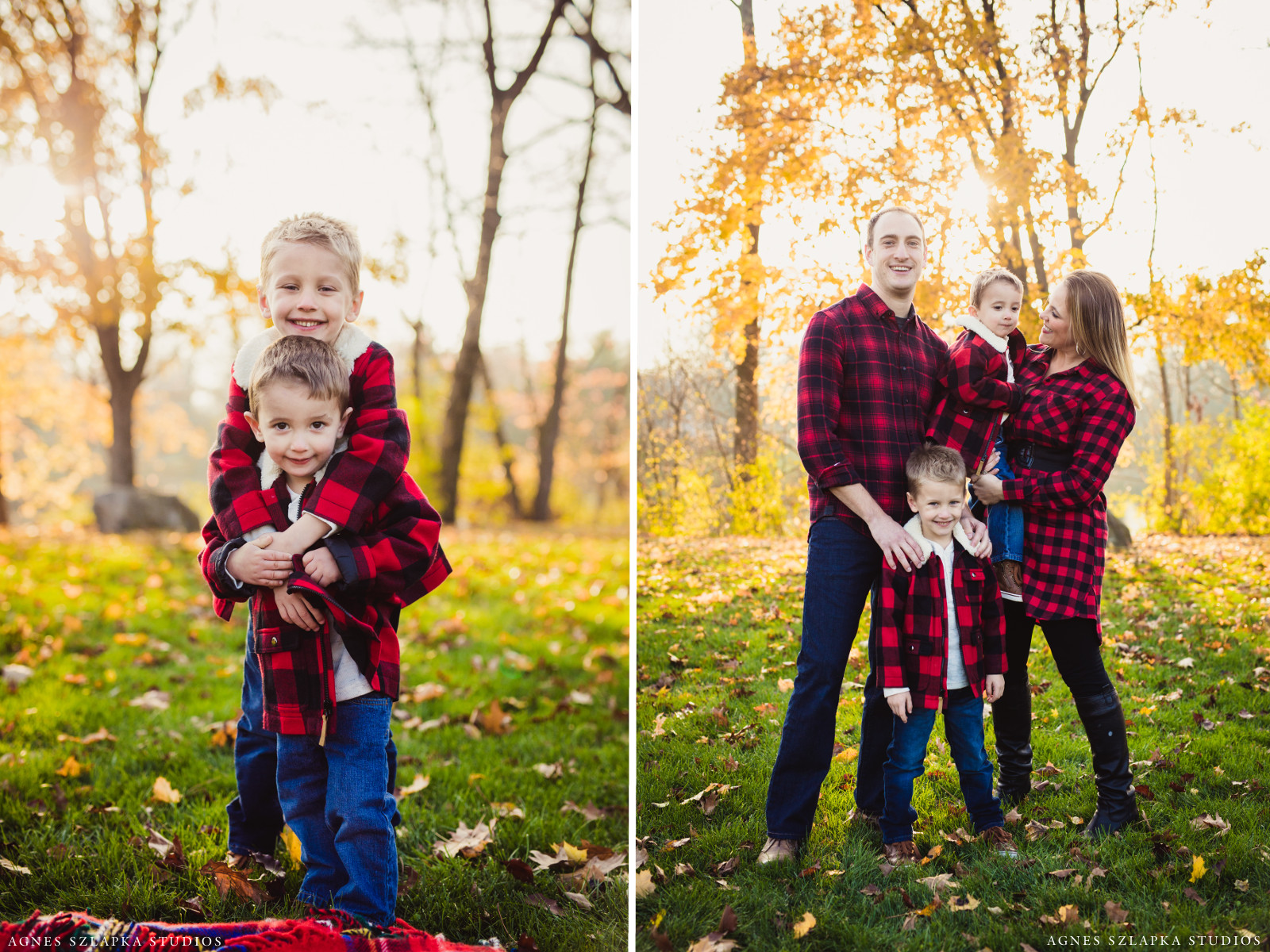 two brothers in red plaid smiling | cleveland, ohio kids photographer