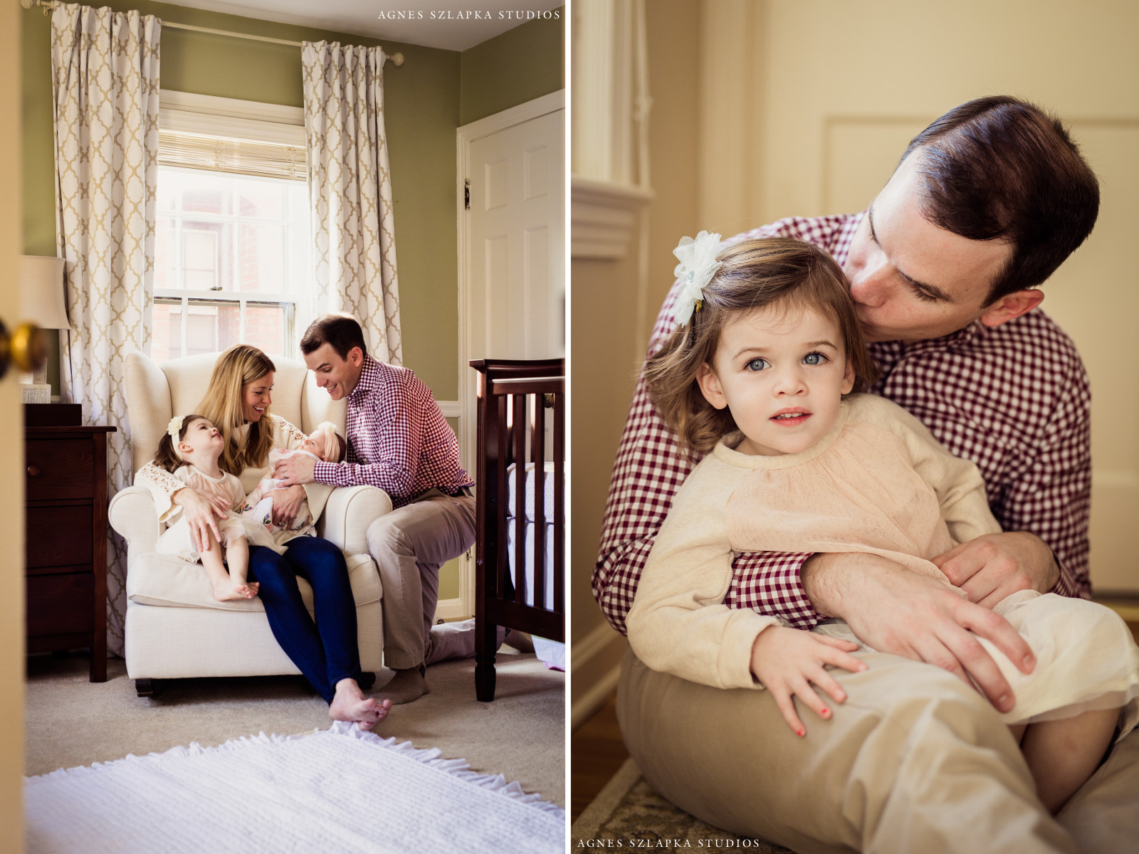 family of four in baby girls bedroom | cleveland, ohio newborn pictures