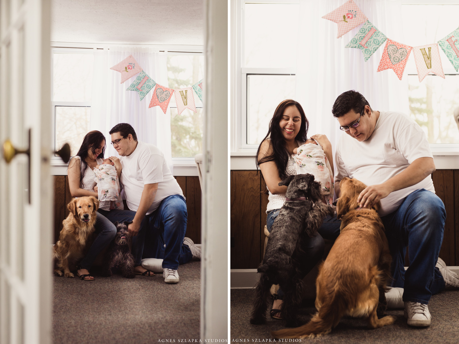 family of three with dog and baby | cleveland, ohio lifestyle newborn photographer