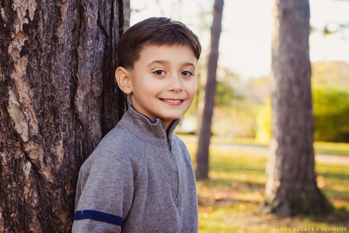 seven year old boy portrait in park | cleveland, ohio family photography