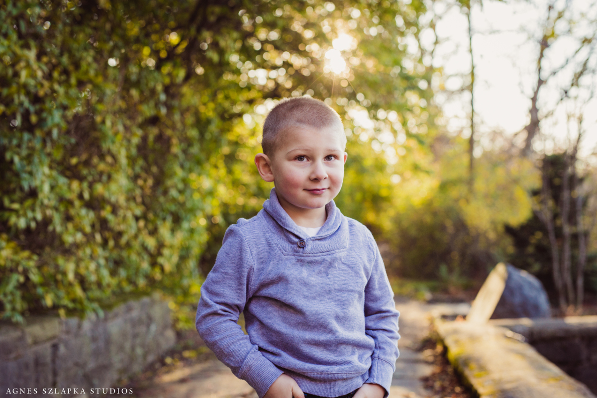 preshool age boy in blue sweater standing in park | cleveland, ohio family photos