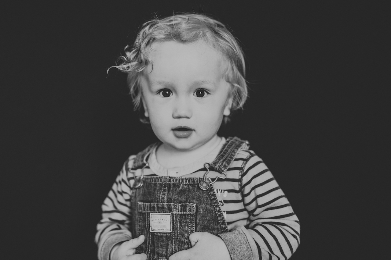 one year old boy wearing overalls | cleveland, fine art kids portraits