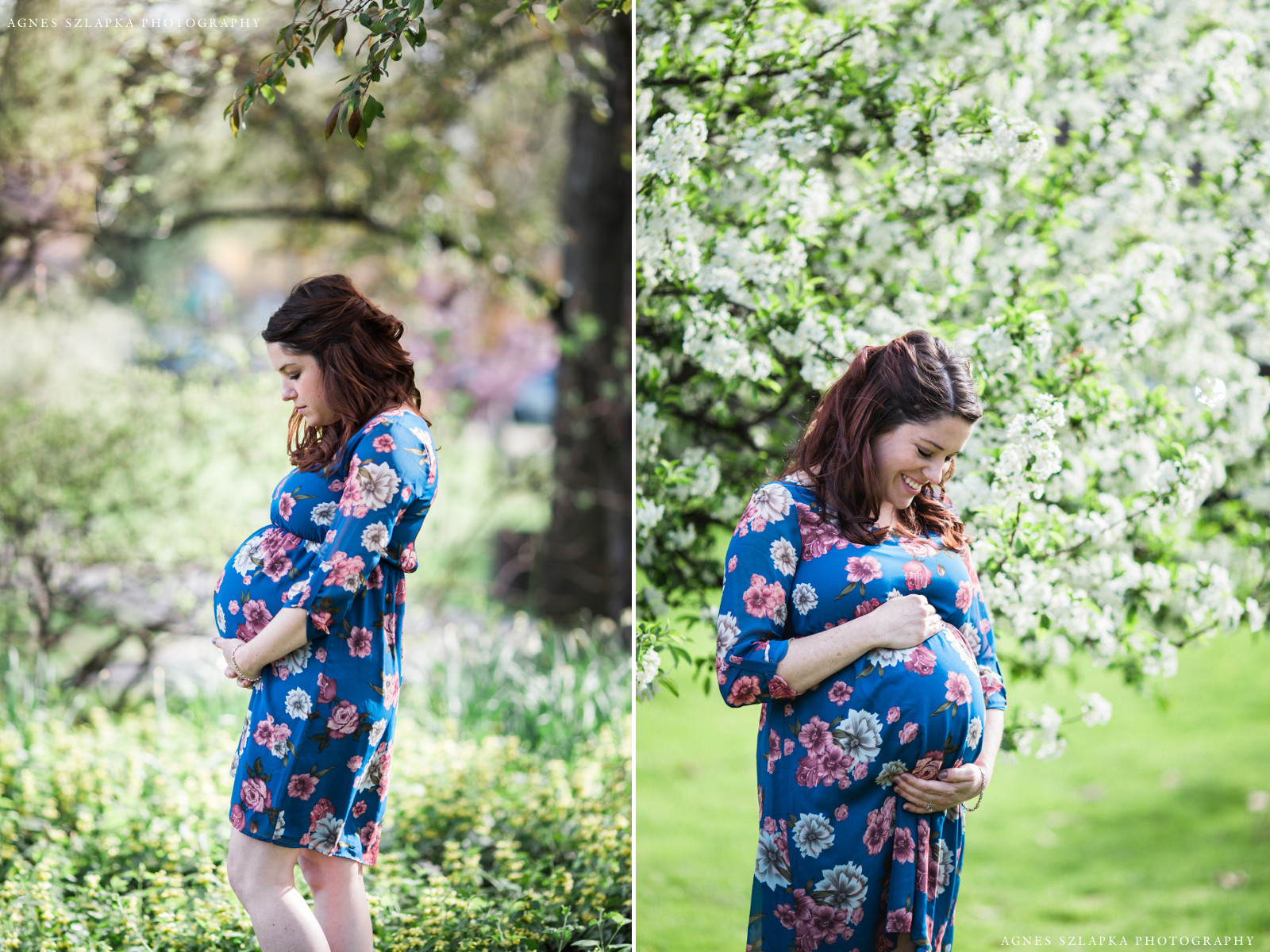 pregnant woman standing near cherry blossoms | cleveland, maternity photos