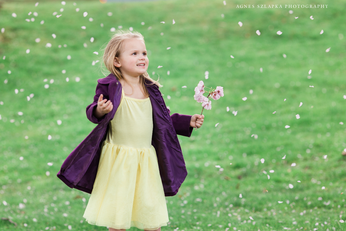 three year old girl playing with flowers | cleveland, ohio family photography