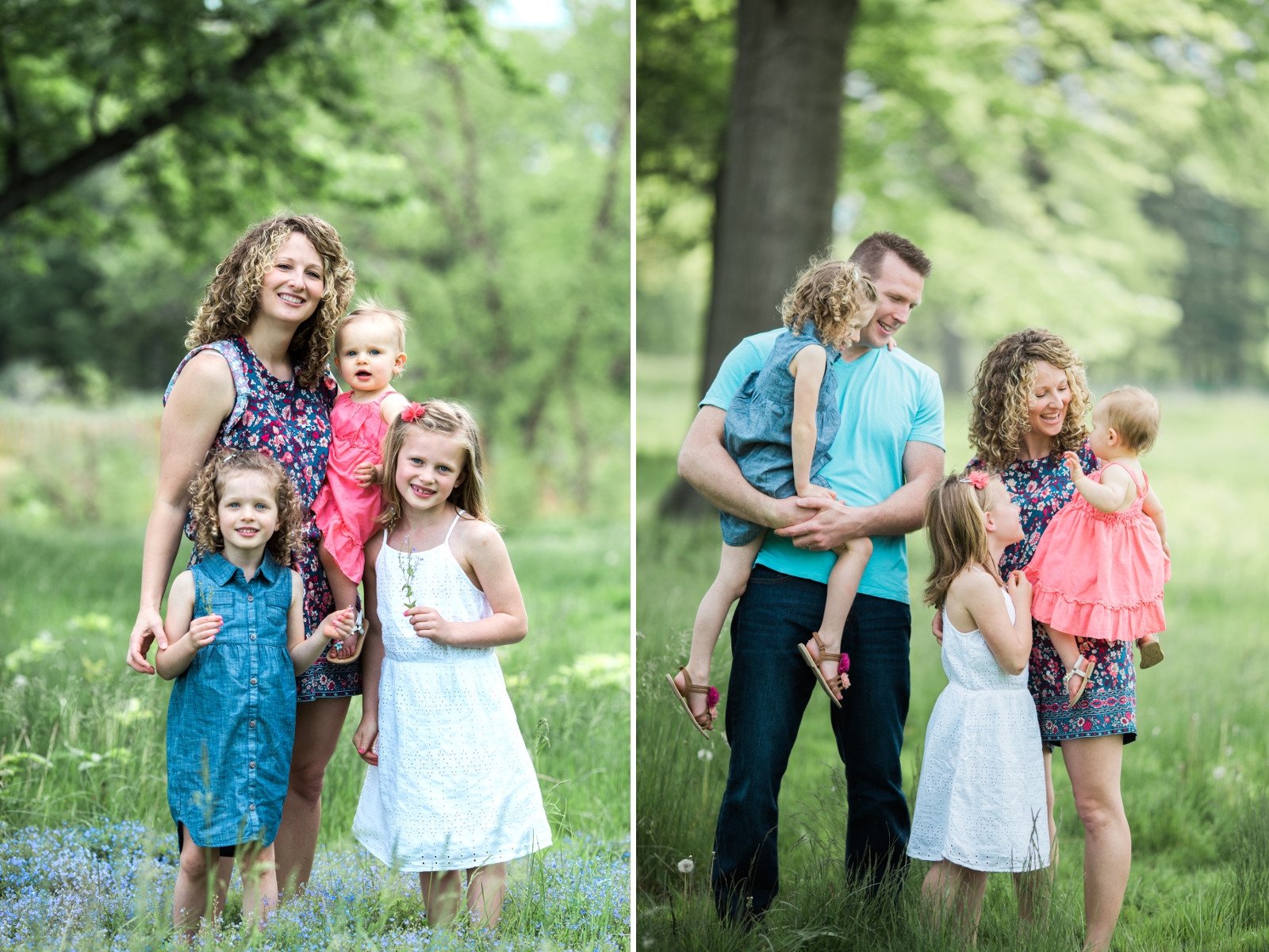 mother and her children dressed in dresses | cleveland, ohio family photographer