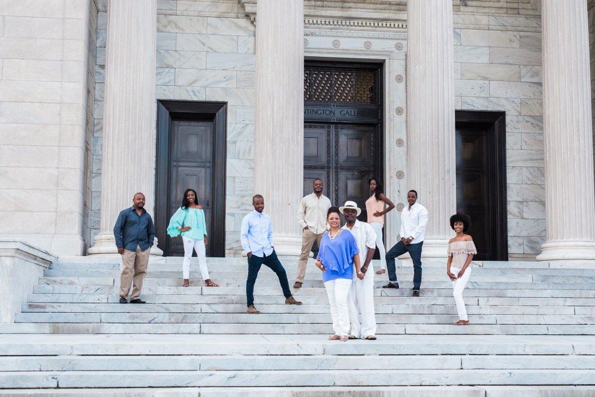 people spread out on large steps | cleveland oh family photographer