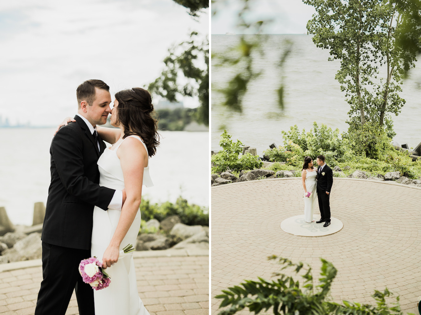 husband kissing wife in white jumpsuit | cleveland, oh wedding photographer