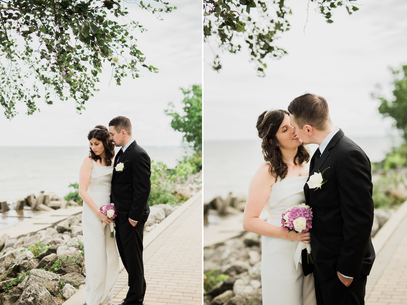 bride and groom walking along boardwalk solstice steps | cleveland wedding photos