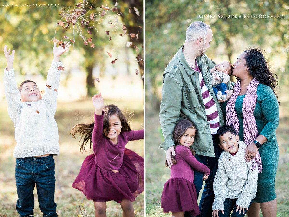 two kids playing in park and throwing leaves   cleveland, family photographer