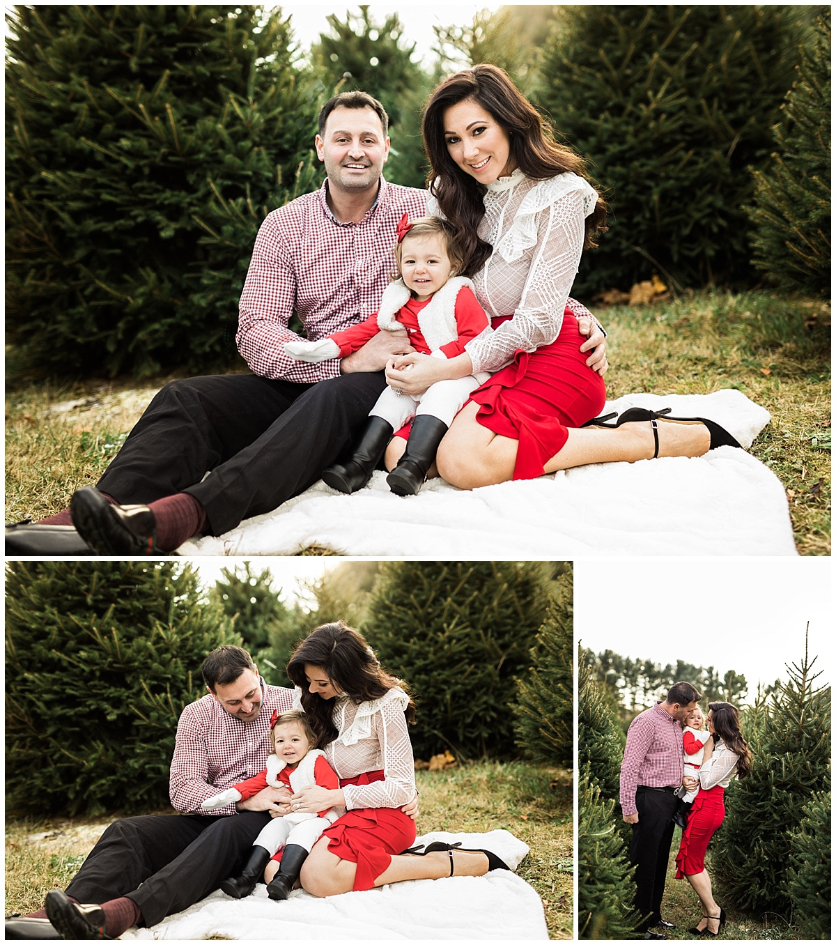 family of three at tree farm | cleveland, OH family photographer