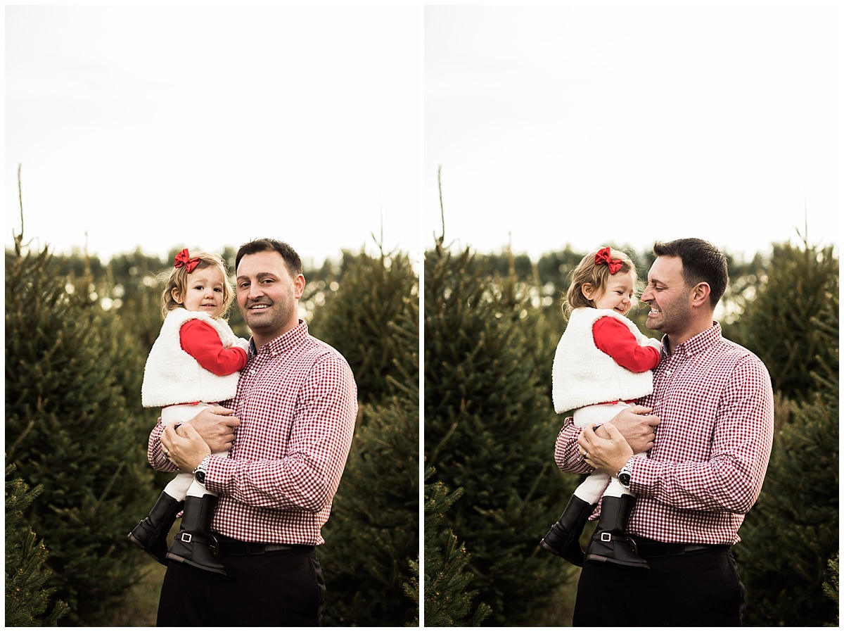 father with little toddler girl dressed in red | Cleveland, OH lifestyle photographer
