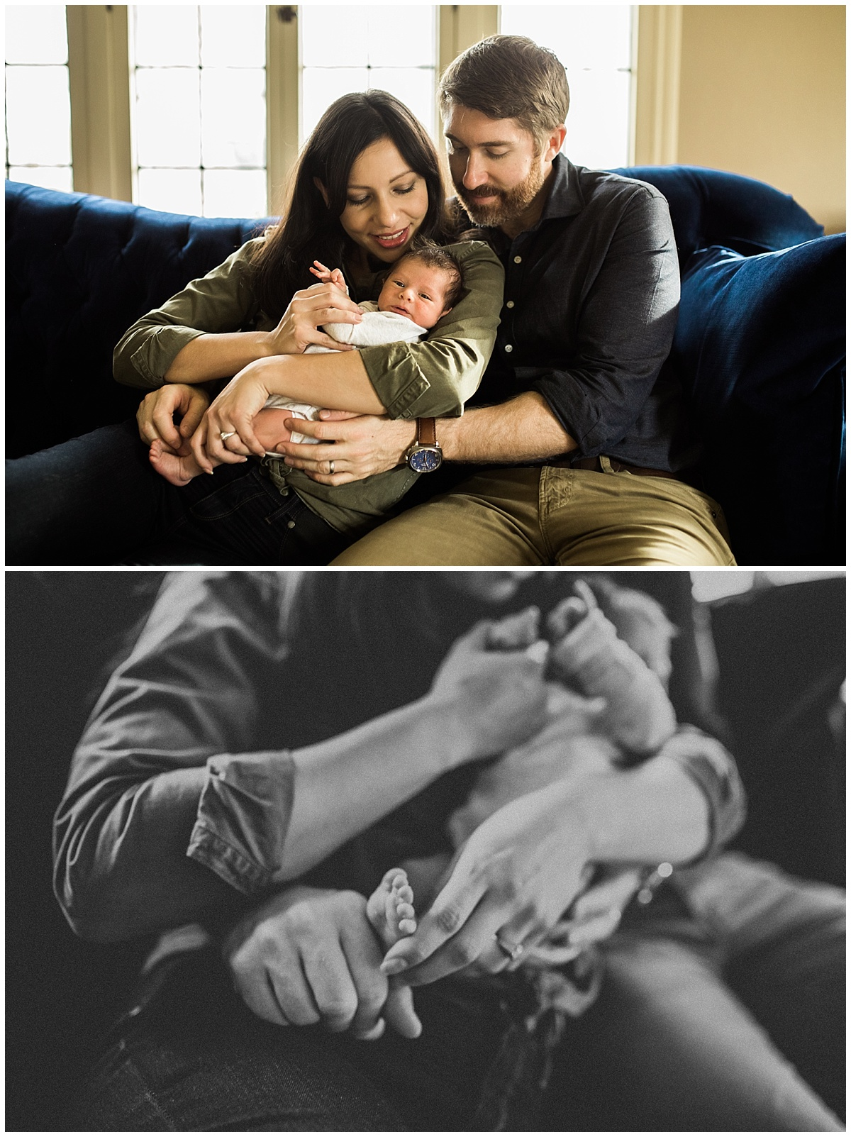 mom and dad with baby snuggling on couch | cleveland, OH newborn photos