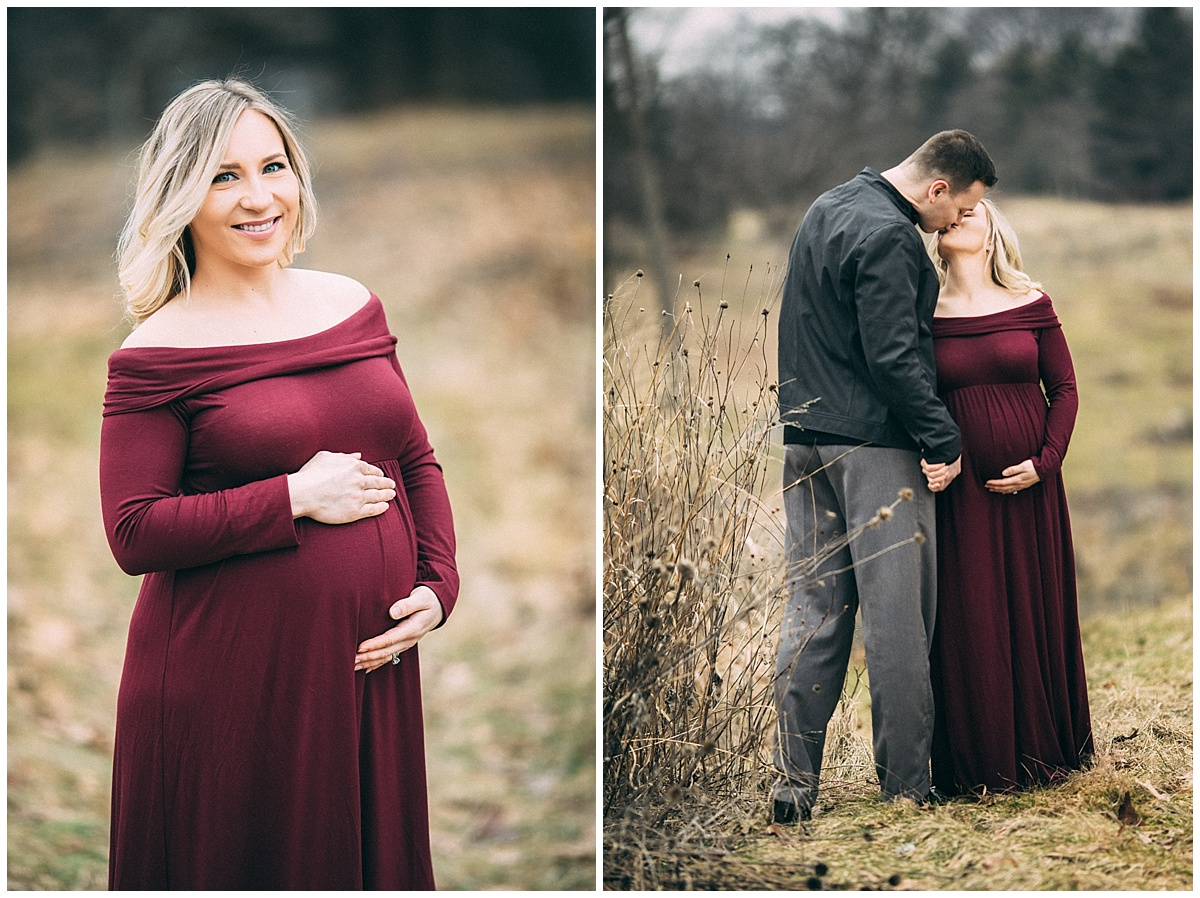 man and pregnant woman wearing long burgandy gown in park | cleveland, OH maternity portraits