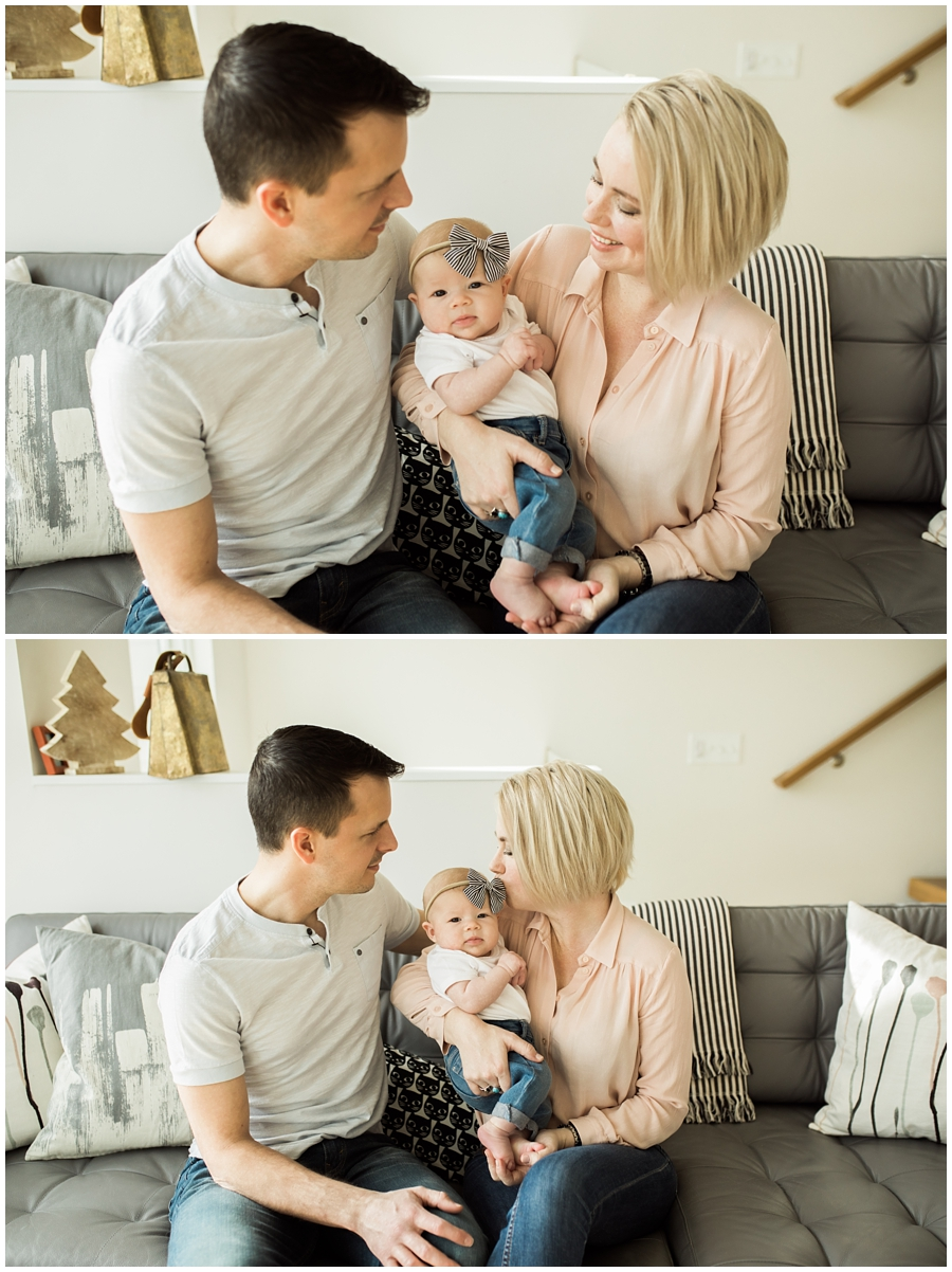 family of three with baby girl on living room couch | cleveland, OH newborn photographer