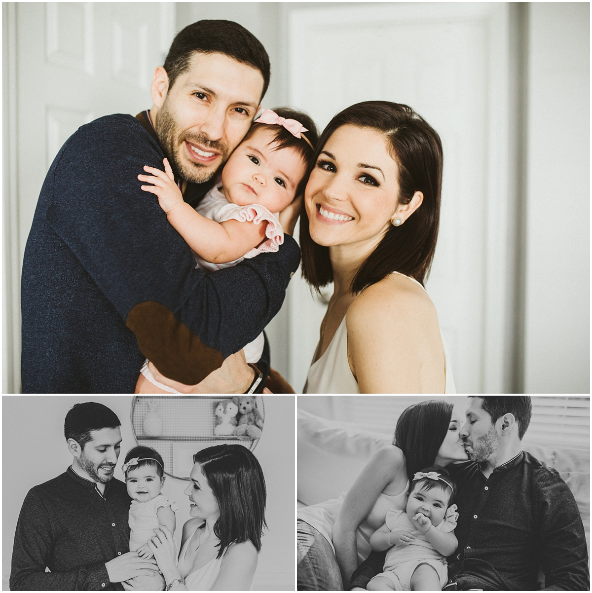 family of three sitting on white couch | cleveland OH baby photographer