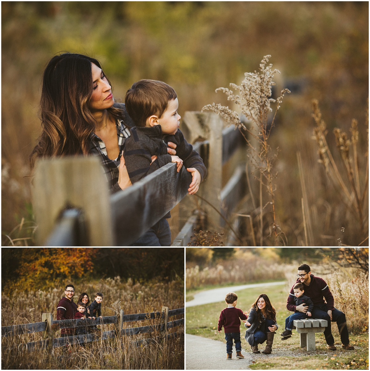 mom with toddler son in park near fence | cleveland, OH family photography