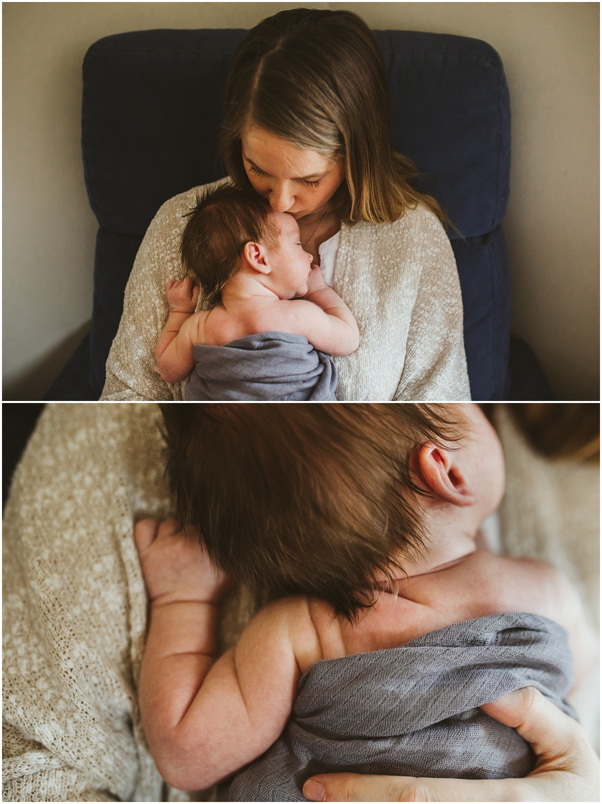 mother and her baby son on chair | cleveland, OH newborn photographer