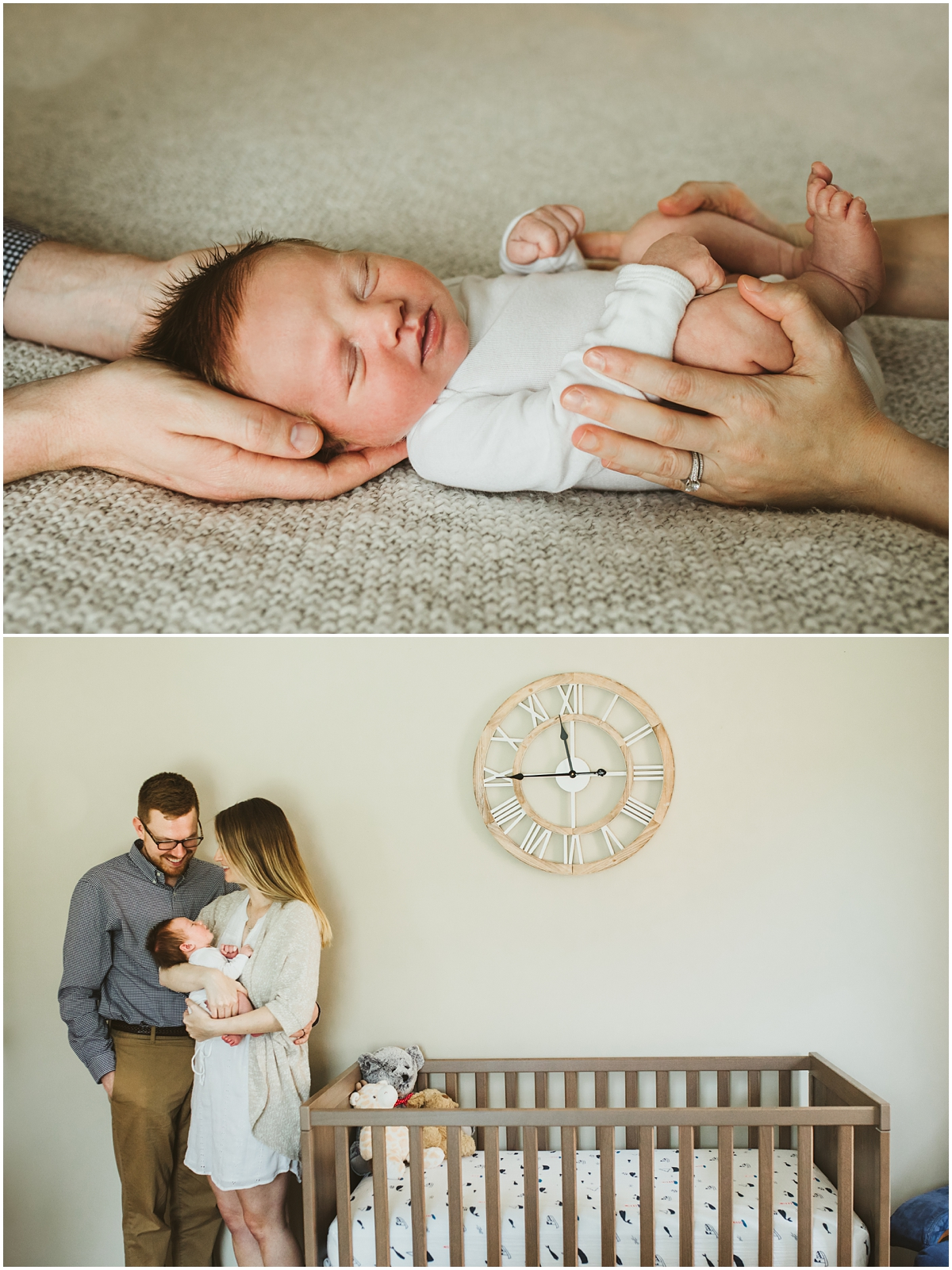 mom and dads hands on baby boy | cleveland, OH newborn photographer