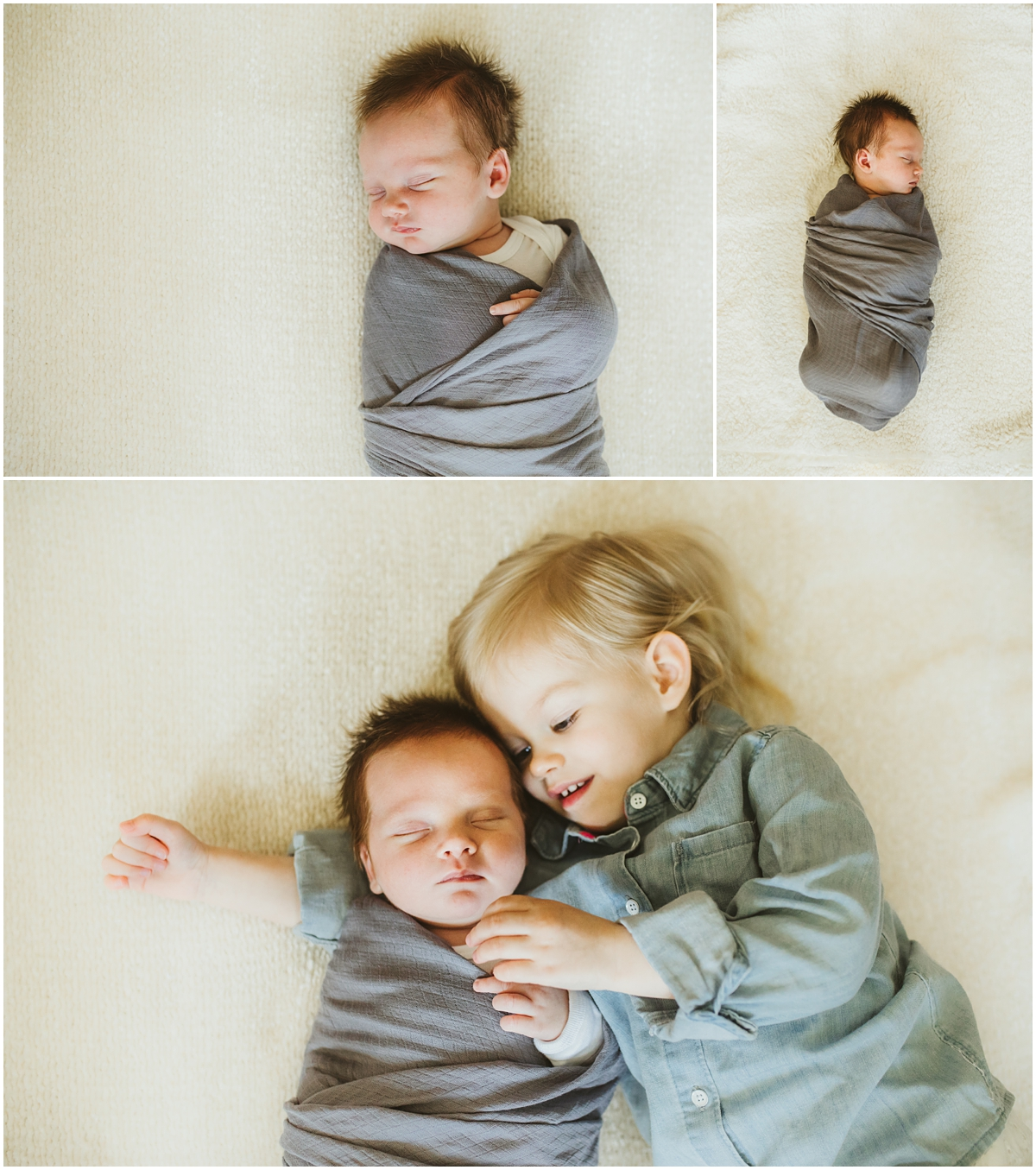 Big sister with baby brother | Cleveland Newborn Photographer