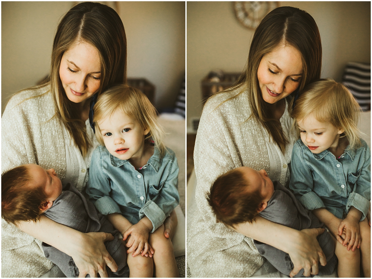 mother with baby son and daughter | Cleveland, OH newborn photography