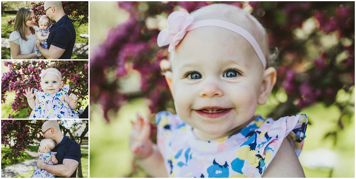 one year old girl wit pink flowers | cleveland museum of art photographer