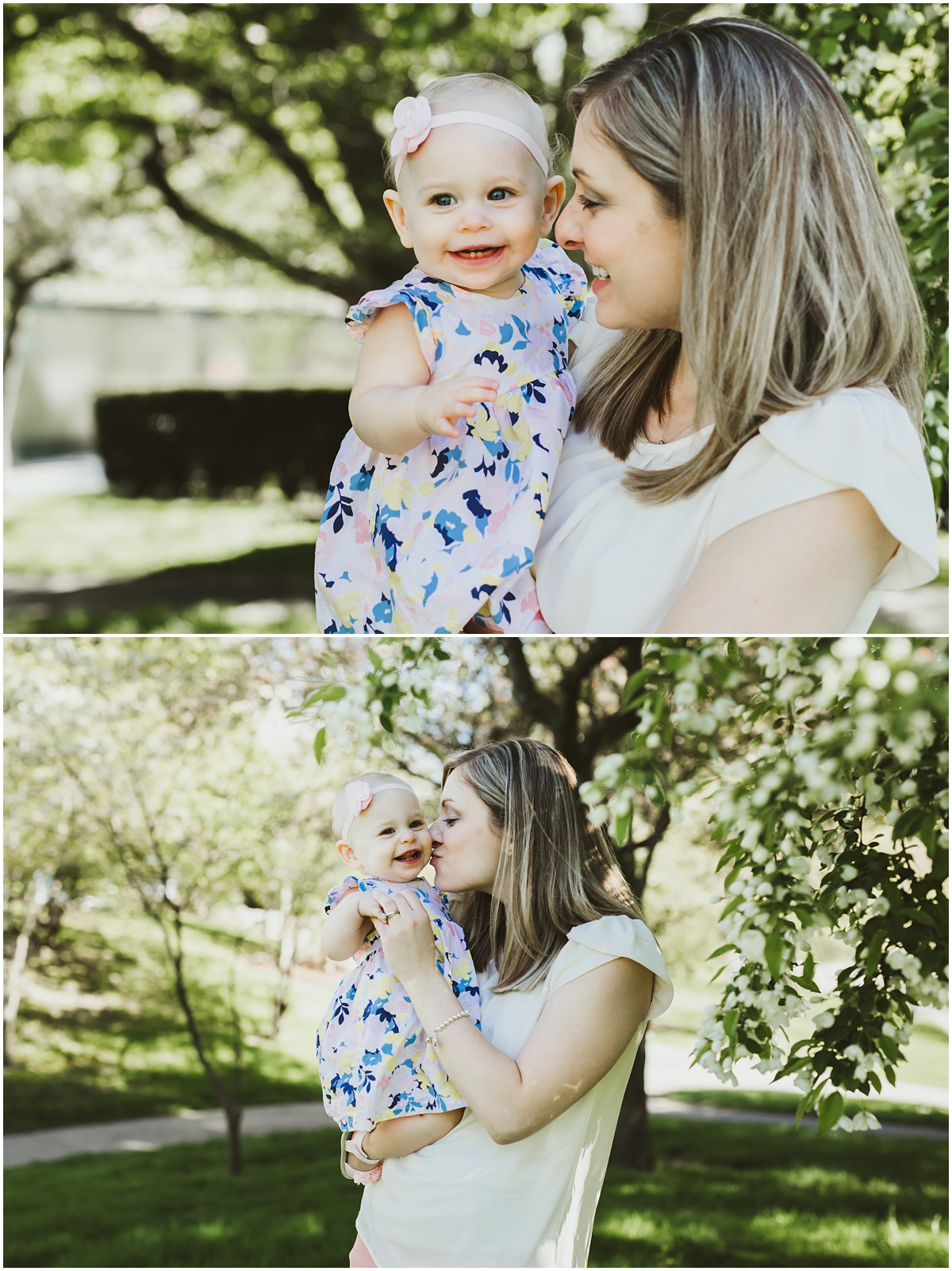 mother and infant daughter by cherry blossoms | cleveland, OH family lifestyle photographer