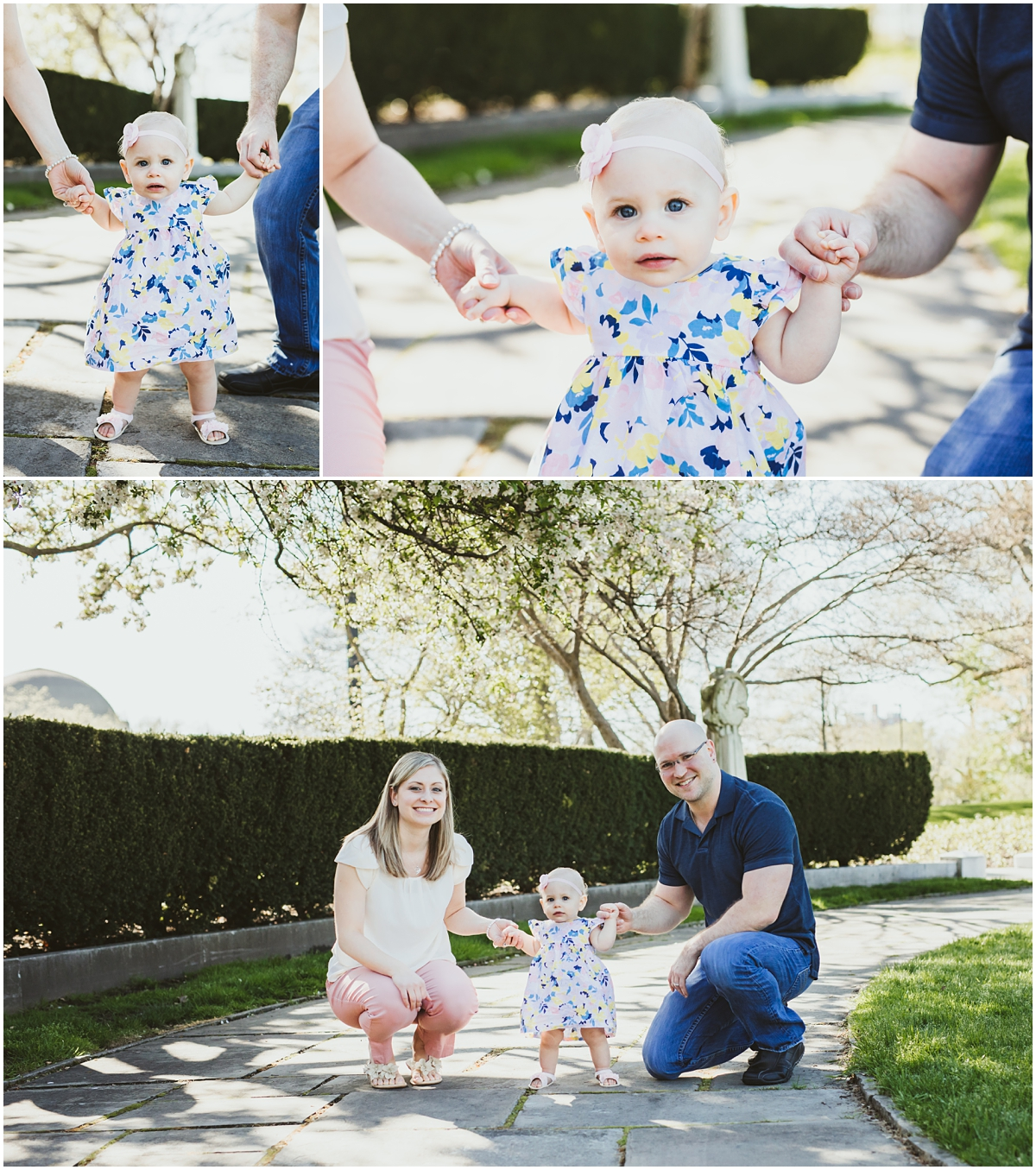 baby firl with pink dress holding parents hands | cleveland OH family photographer