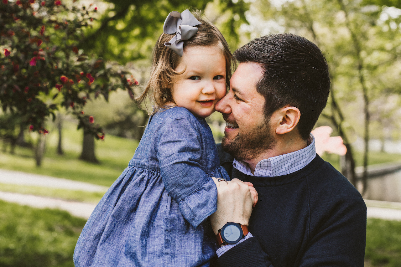 Dad and baby girl with blue dress | Cleveland Family Photographer