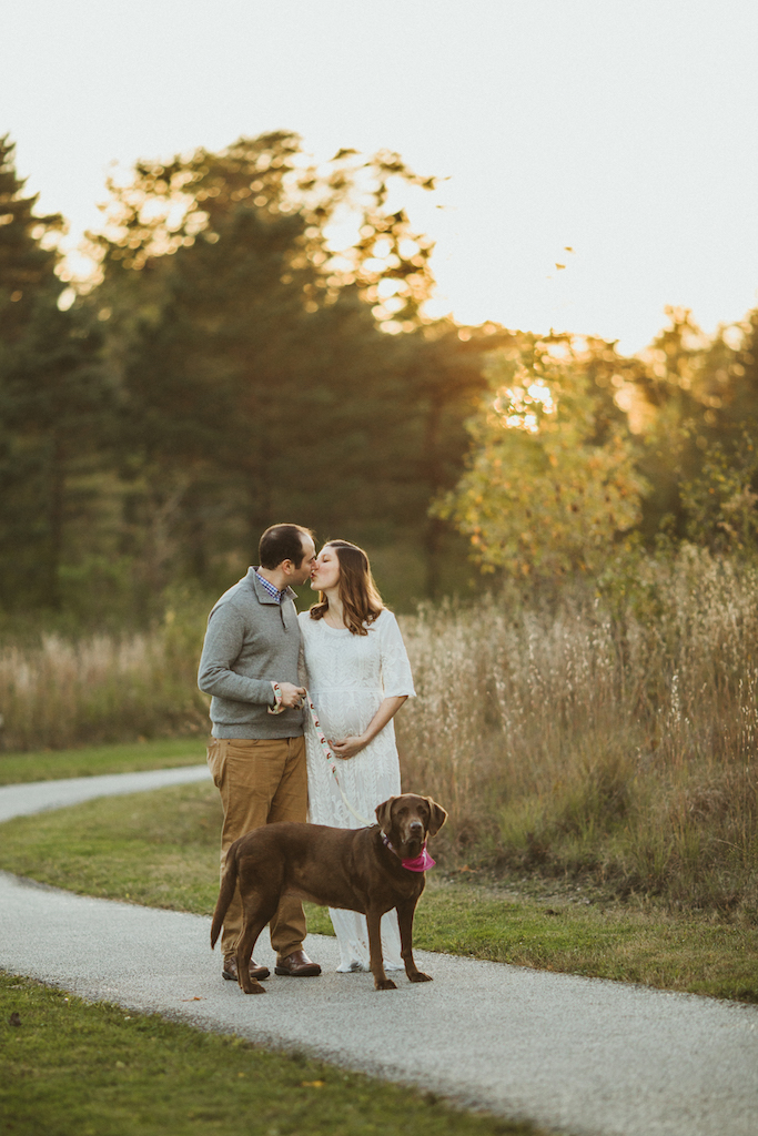 soon to be parents of baby girl with dog | Cleveland, OH maternity photographer