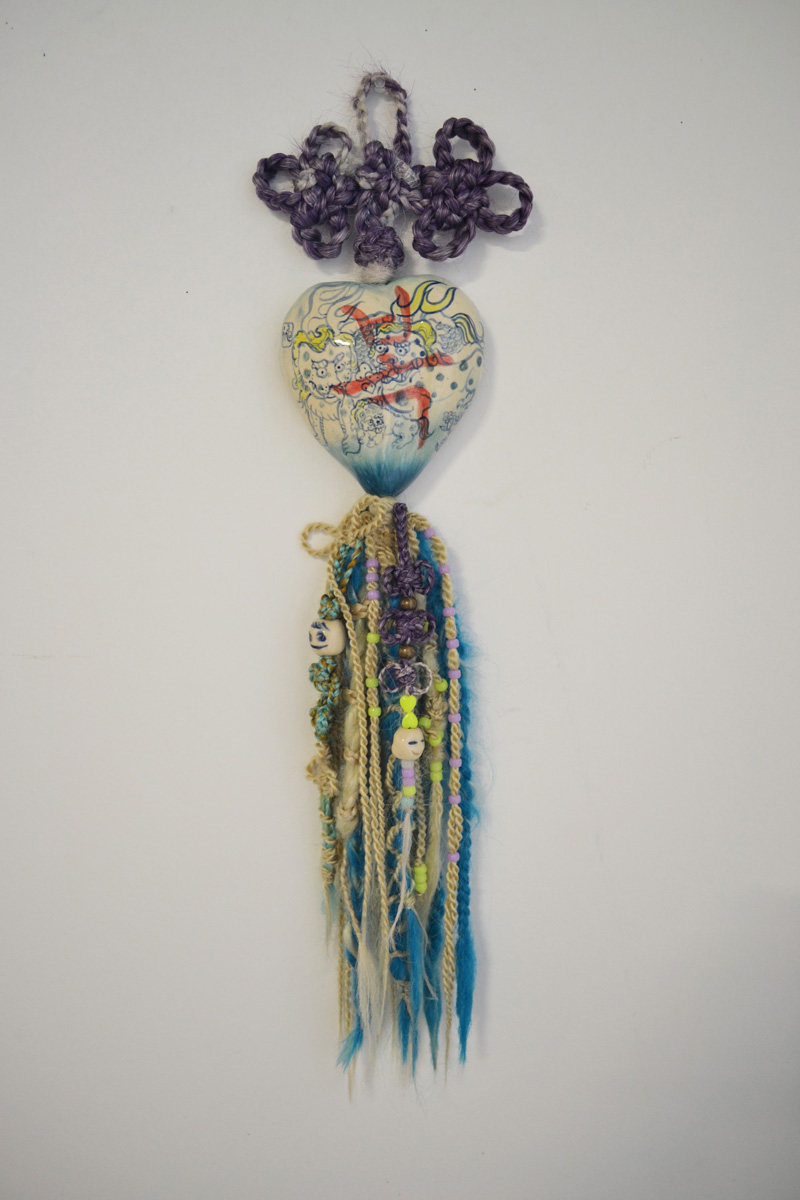 "Jiha Moon  Lucky , 2013 Earthenware ceramic, wire, hand-knotted synthetic hair, pony beads, thread 26"" x 5.5"" x 2"""