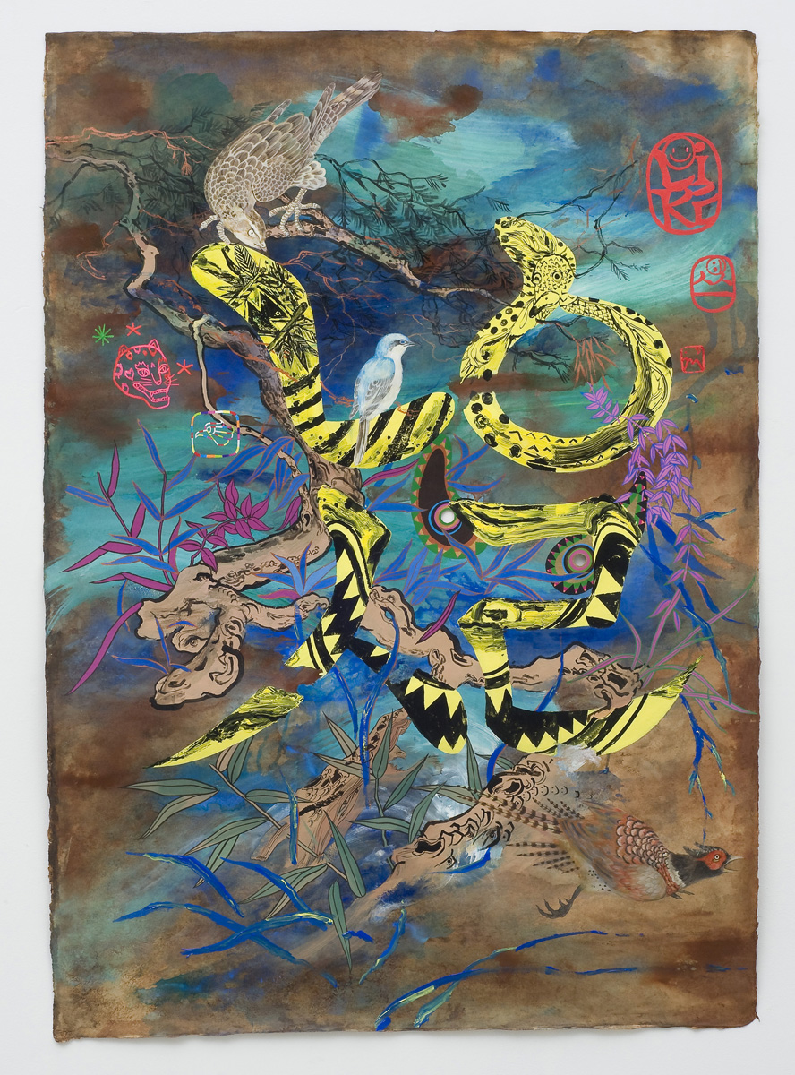"Jiha Moon  Foreign Love , 2013 Ink and acrylic on Hanji Paper 59"" x 41.5"""