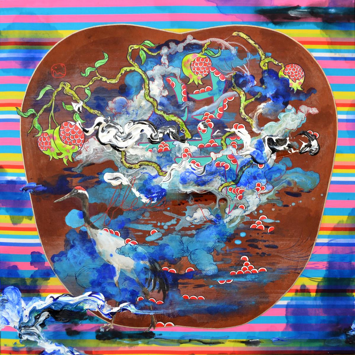 """Jiha Moon  Bok, Bless Your Heart , 2013 Ink, acrylic on Hanji paper on fabric mounted onto wood panel 18"""" x 18"""""""