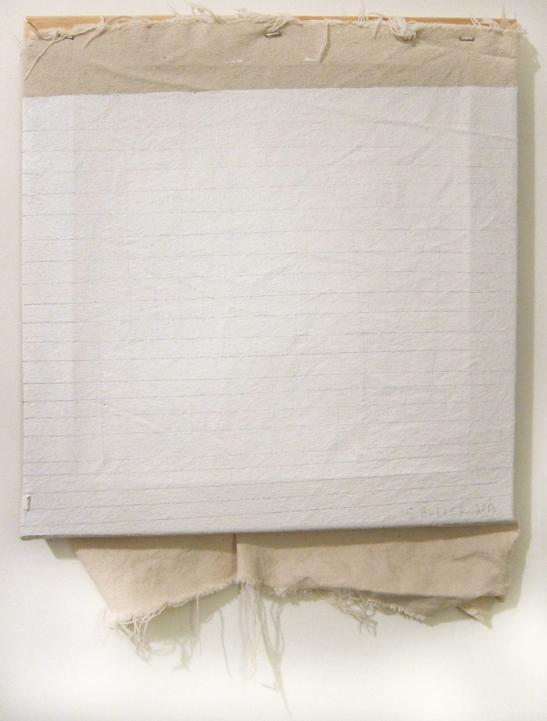 "Sharon Butler  Agnes Martin , 2013 Pigment, binder, pencil, wood stretcher, staples, linen tarp 14"" x 12"" Courtesy of the Artist"
