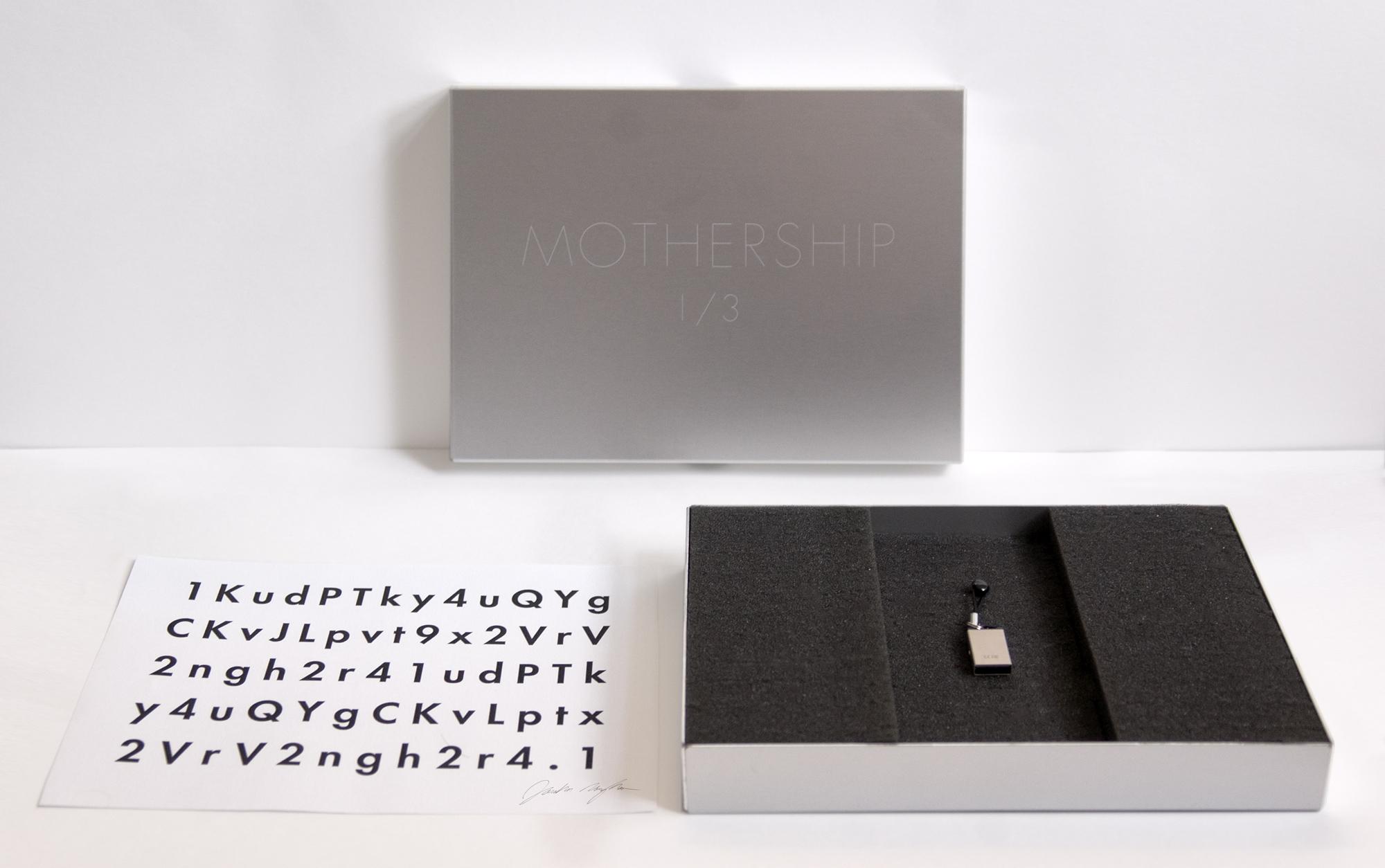 Jonathan Monaghan  Mothership ,2013 CGI animated HD film, 15 min loop, edition of 3 with laser-etched aluminum case, USB, Keidom ID  Music by Evan Samek