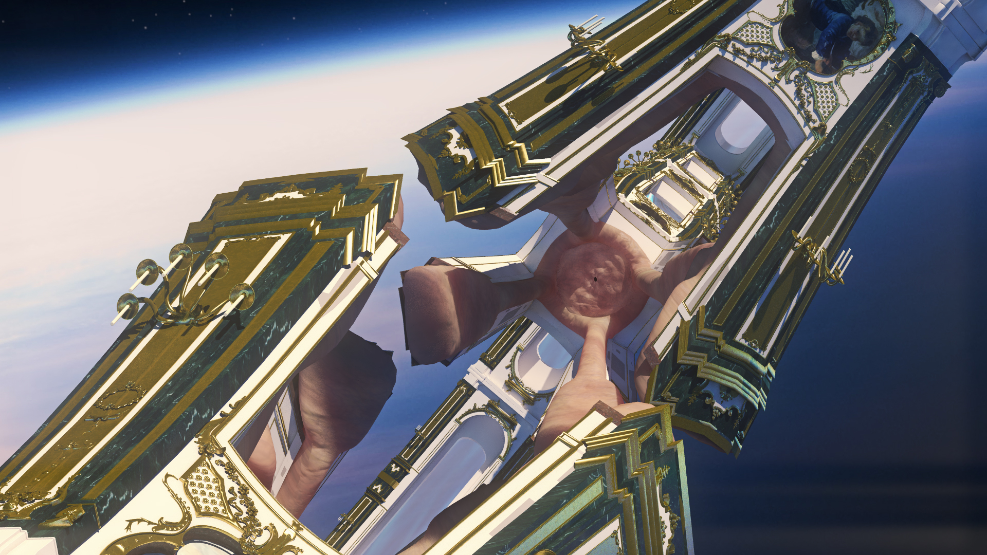 Jonathan Monaghan  Alien Fanfare ,2014 CGI animated HD film, 16 min loop, edition of 3 with laser-etched aluminum case, USB, Keidom ID  Music by Evan Samek & John Di Lasci