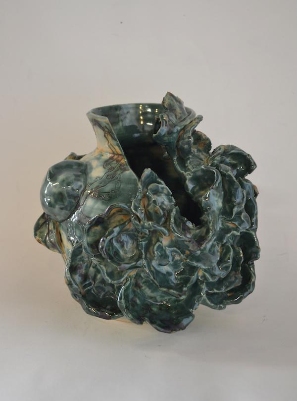 """Broken Peony ,2013 Earthenware ceramic 9"""" x 9"""" x 8"""""""