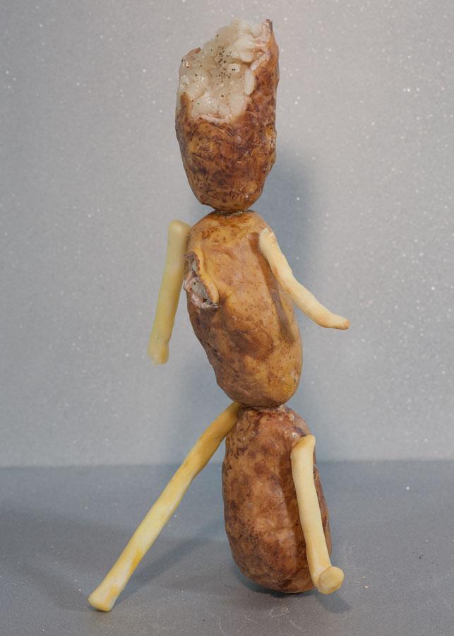 """Potato Boy (Baked & Fried) , 2016 Brass sheet, steel wire, epoxy resin, wax, foam, acrylic paint, oil paint 12"""" x 6"""" x 4"""""""