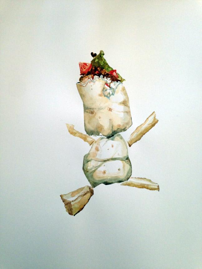 "Baby Burrito , 2016 Watercolor 21"" x 15"""