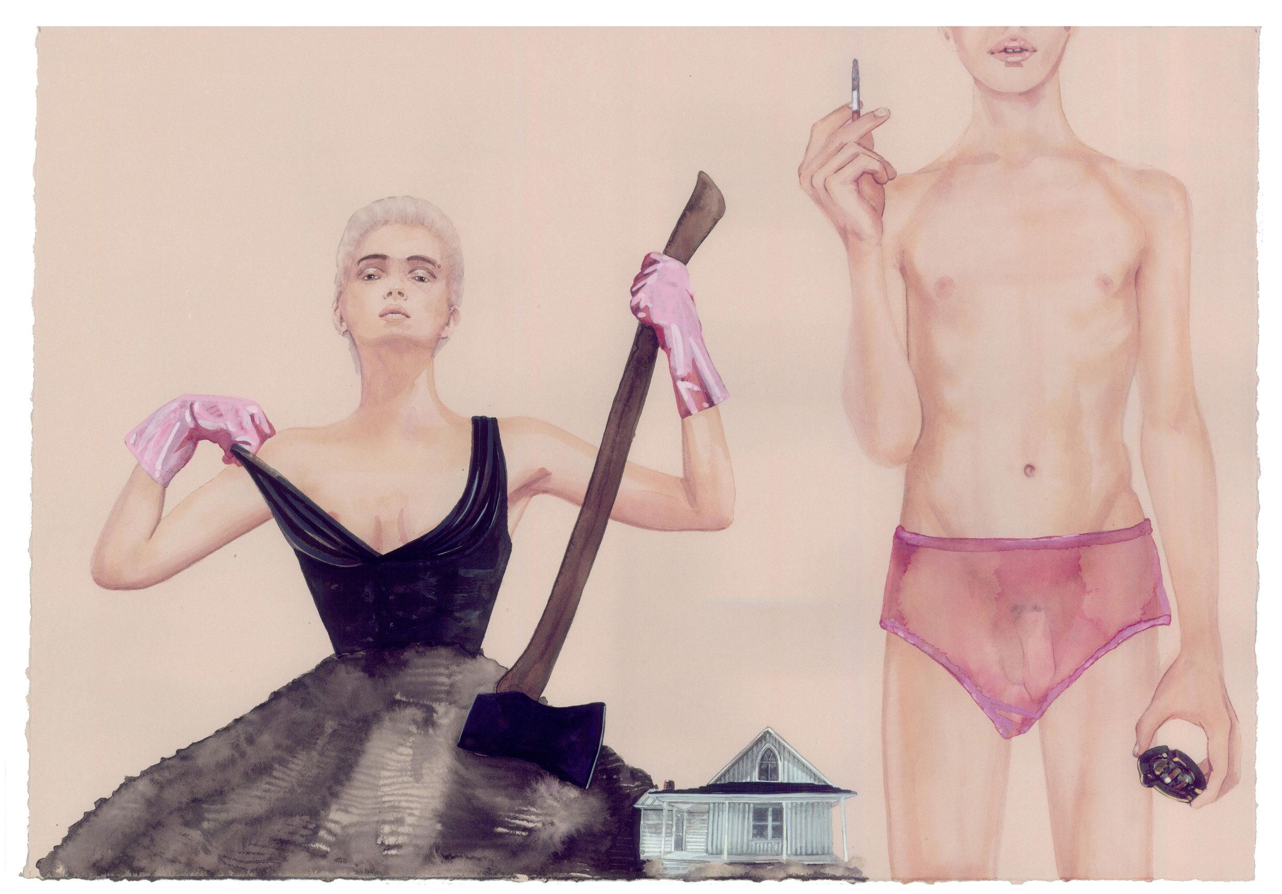 """American Gothic , 2011 Watercolor, ink, gouache on Stonehenge paper      11"""" x 17"""" unframed 13"""" x 19"""" framed"""