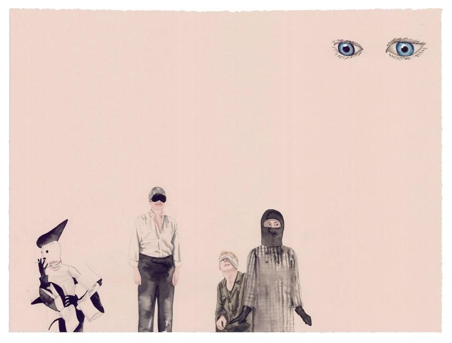"Sleepless Eyes , 2012 Ink, gouache, watercolor on paper 22"" x 26"""