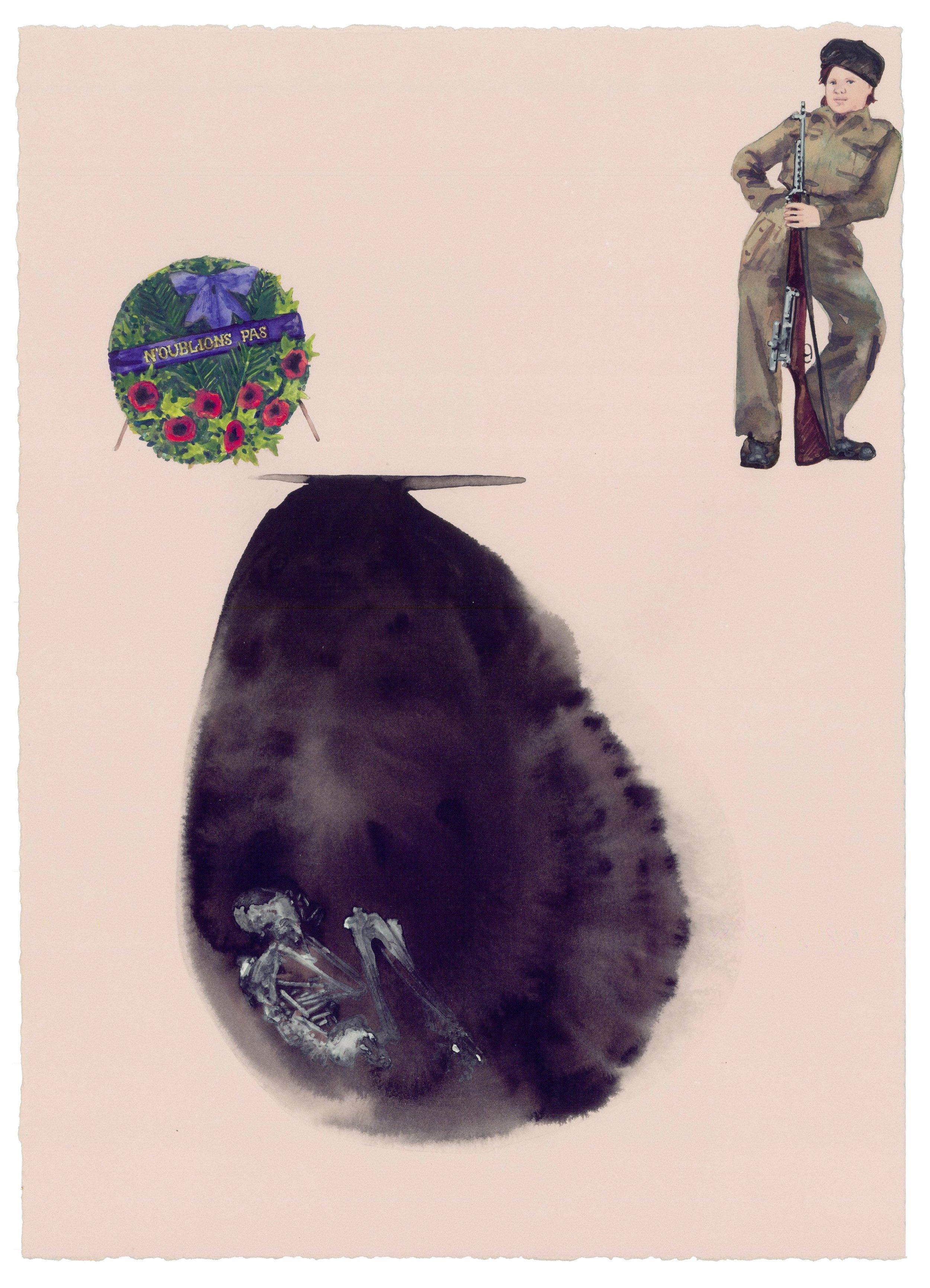 "Oubliette , 2012 Ink, gouache, watercolor on paper 7"" x 11"""