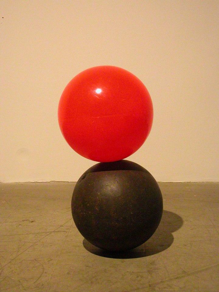 "Jeff Spaulding  Dark Flower   2006 Iron, plastic 30"" x 15"" x 15"""