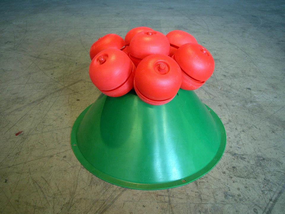 "Jeff Spaulding  Mine   2005 Polyethylene, steel 12.5"" x 16"" x 16"""
