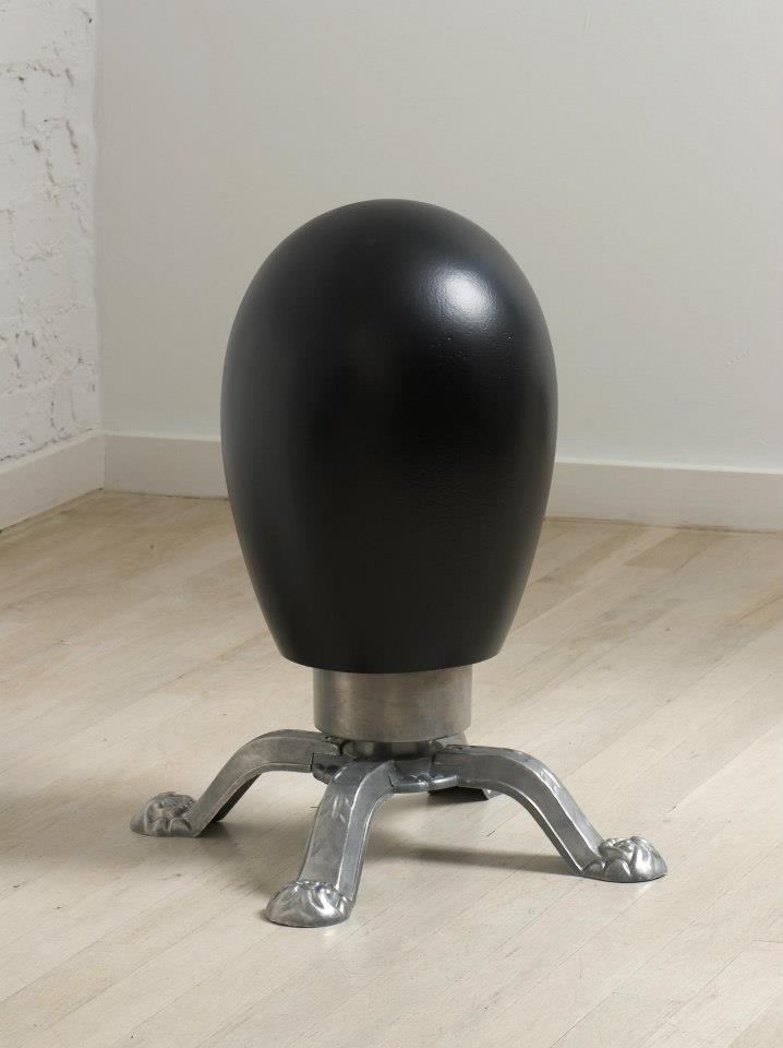 "Jeff Spaulding  Portrait   2004 steel, aluminum, wood, rubber 16.5"" x 7.5"" x 7.5"""