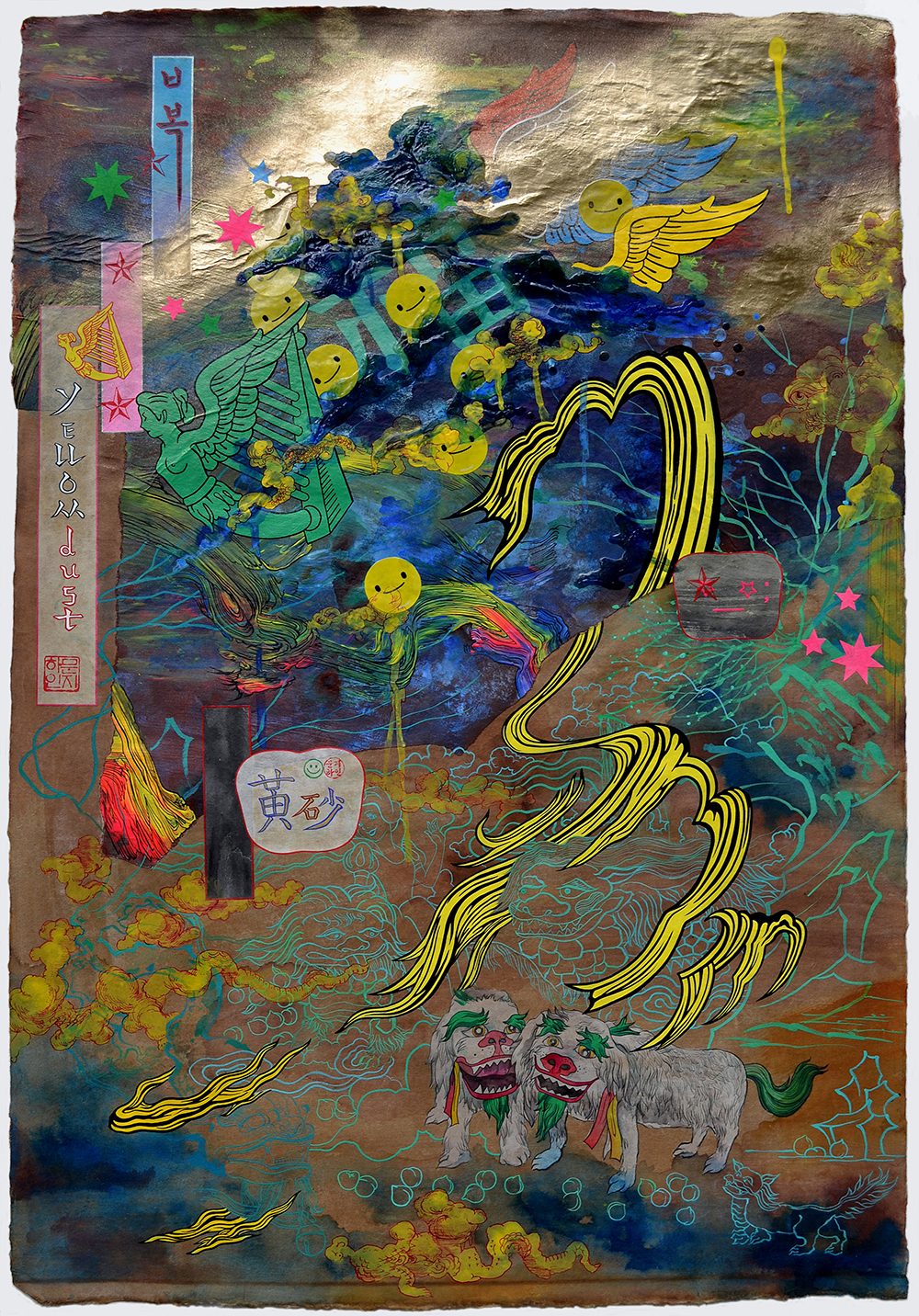"Jiha Moon  Yellow Dust  Ink and acrylic and spray-paint on Hanji paper 36.75"" x 25"" 2012"