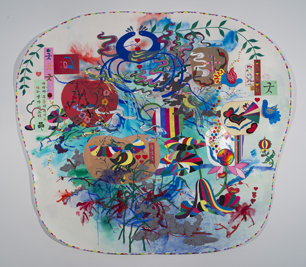 "Jiha Moon  Big Pennsylvania Dutch Korean Painting  Ink and acrylic, fabric, stickers, embroidery patches on Hanji 57"" x 64"" 2011"