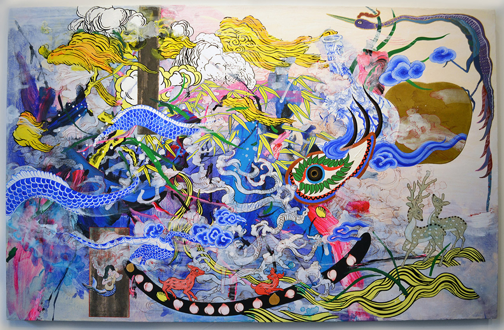 "Jiha Moon  Most Everyone's Mad Here  Ink and acrylic on Hanji paper mounted onto canvas 28"" x 44"" 2015"