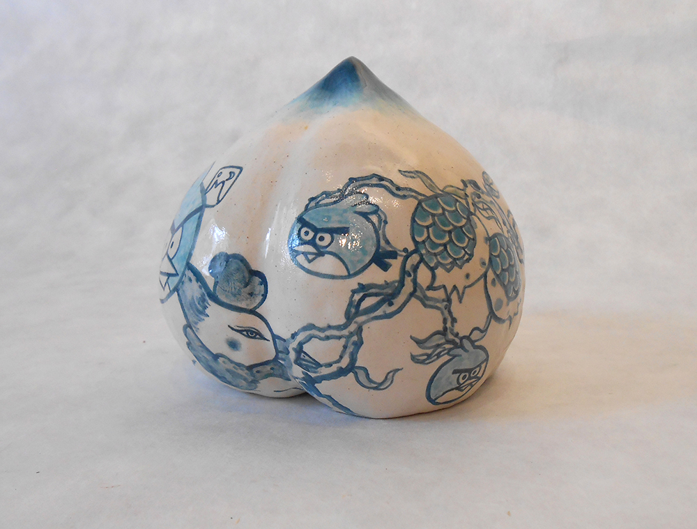 "Jiha Moon  Angry Peach  Earthenware ceramic 5"" x 4.5"" x 5"" 2014"